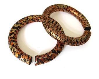 """Gold Flake Hoop Gauges For Stretched Lobes - Fake,  2g, 0g, 00g, 7/16"""", 1/2"""", 9/16"""", 5/8"""", 11/16"""",  3/4"""" - Gauges - Gauged Earrings"""