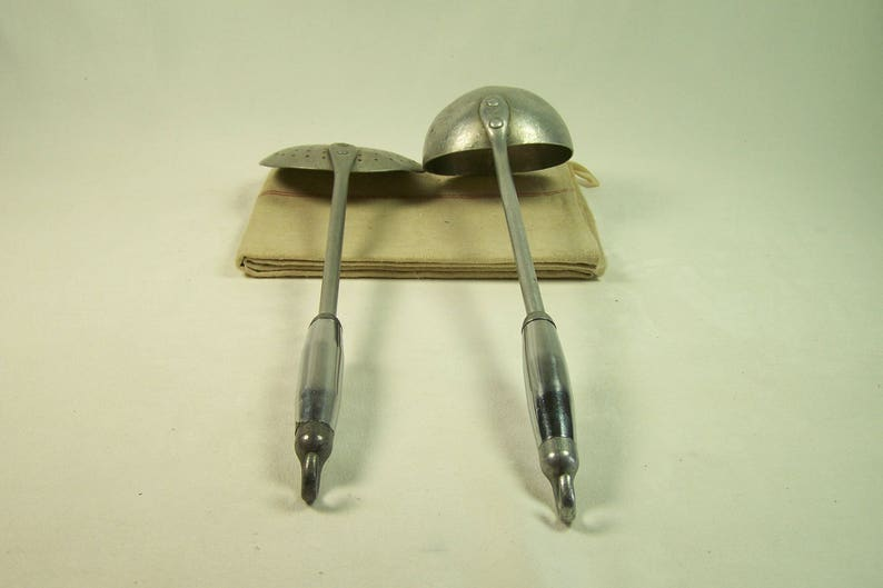 silver skimmer Aluminum skimmer and ladle Made in France 1950 chrome plated handle