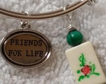 Mahjongg bracelet / Mah jong jewelry / Friends for Life / Charm bracelet / Beaded Ma jong tile / Glitzy Bangle Bracelets