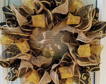 sale Everyday Wreath, Rustic Wreath, Black Gold Wreath, Football Wreath, Year Round Wreath