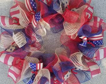4th July Wreath, Patriotic Wreath, USA Wreath, Rustic Wreath, Memorial Day Wreath, Deco Mesh Wreath, Ribbon Wreath, Flag Wreath, Jute Mesh