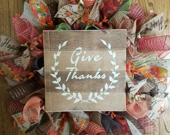 Fall Wreath, Autumn Wreath, Rustic Wreath, Autumn Spiral Wreath, Fall Spiral Wreath, Give Thanks Wreath, Thanksgiving Wreath, Owl Ribbon