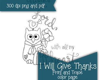 I Will Give Thanks bible journaling PRINT and TRACE printable color page instant download