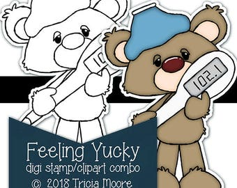 Feeling Yucky digi digital stamp clipart combo kit printable color page Instant download