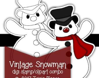 Vintage Snowman Digi Digital Stamp Clipart Kit Color Printable Instant Download