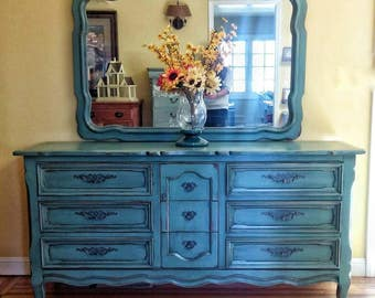 Merveilleux Vintage Dresser With Mirror, Drexel Dresser With Mirror, Shabby Chic Dresser,  Teal Dresser, Teal Buffet, French Provincial