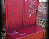 SOLD, SOLD Hall tree bench, entryway bench, shabby chic bench, rustic bench, red entry bench, painted bench, shabby chic hall tree