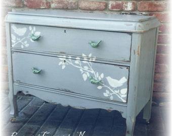 SOLD SOLD Distressed Antique dresser, shabby chic dresser, stenciled dresser, 2 drawer dresser, Rustic dresser, gray dresser