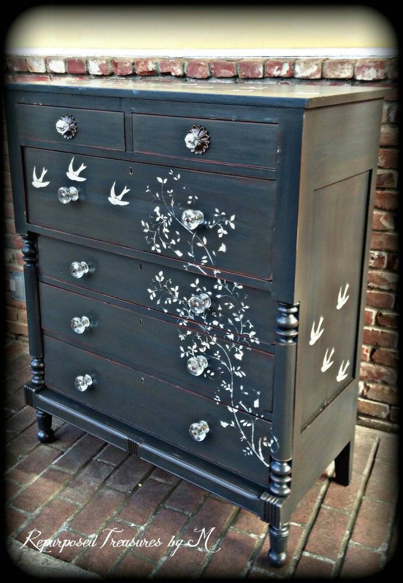 SOLD SOLD Distressed Dresser, Shabby Chic Dresser, Stenciled Dresser, 6  Drawer Dresser, Rustic Dresser, Antique Dresser, Painted Dresser