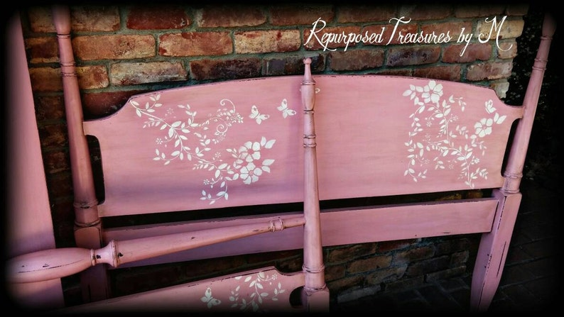 antique twin bed bed frame shabby chic twin bed SOLD SOLD Antique twin bed frame on casters pink twin bed stenciled twin bed