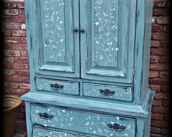 SOLD SOLD Vintage armoire, blue armoire, children's furniture, wardrobe armoire, Rustic armoire, painted armoire, 7 drawer dresser