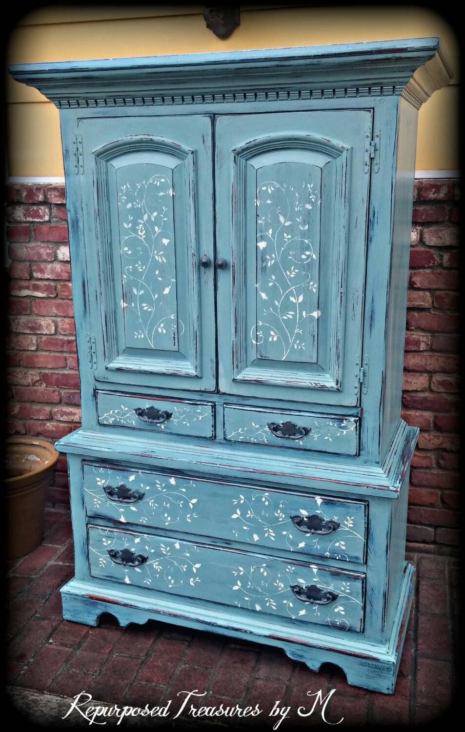 🔎zoom - SOLD SOLD Vintage Armoire Blue Armoire Children's