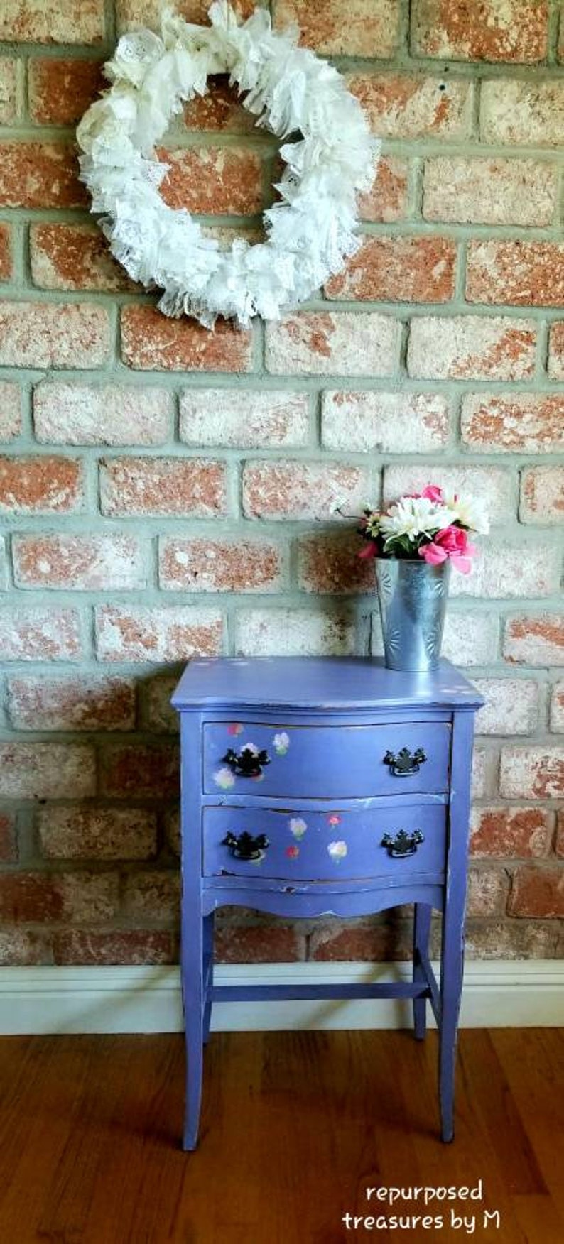Painted Nightstand Distressed Nightstand Shabby Chic Nightstand 2 Drawer Nightstand Purple Dresser Nightstand Cottage Furniture