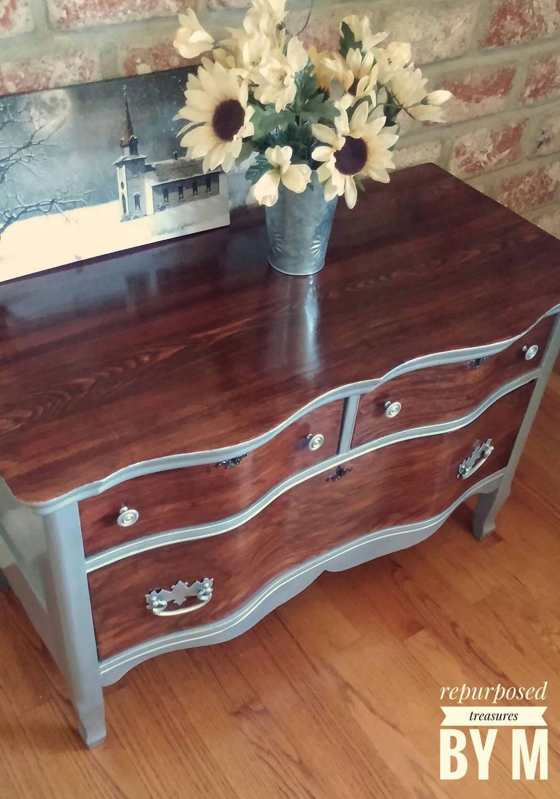 SOLD SOLD Antique dresser, shabby chic dresser, silver metallic dresser, 3 drawer dresser, painted nightstand,  metallic dresser
