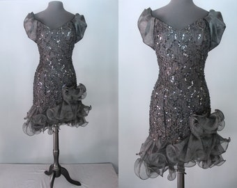 80s Prom Dress Black Lace Ruffled Cha Style Sequined Party Cocktail DRess