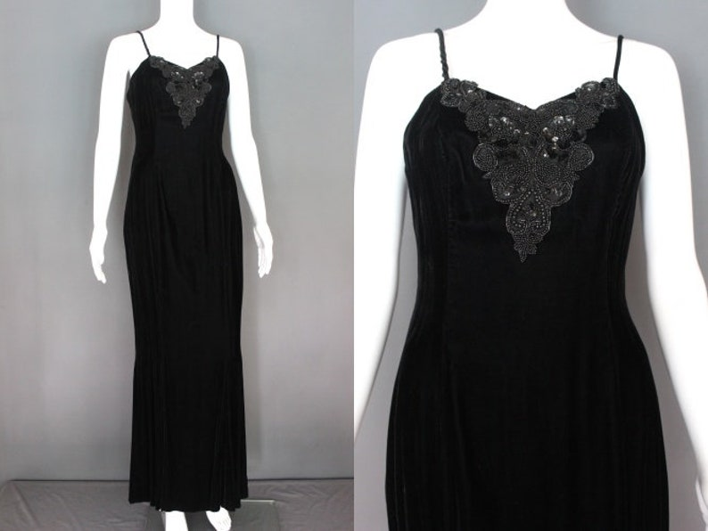 90's Prom Dress 90's-Does-30's Black Velvet