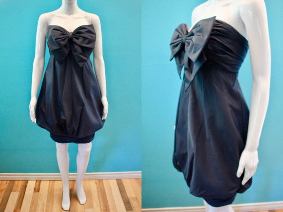 80's Party Dress    80's Midnight Blue Taffeta Tul