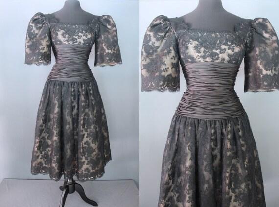 80's Prom Dress   80's Black Lace Midi Length Prom