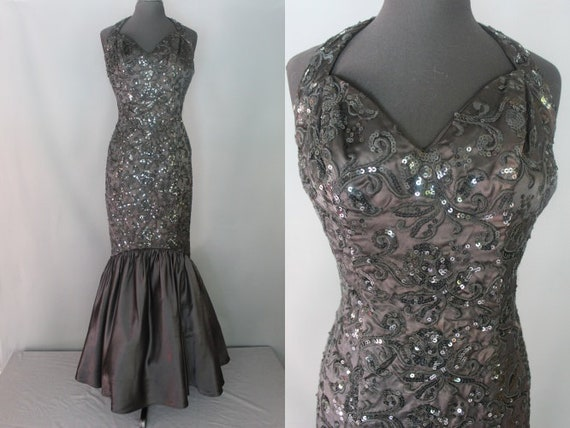 80s Prom Dress 80s Black Sequined Mermaid Style Etsy