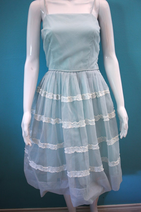 50's Prom Dress Late 50's/Early 60's Light Blue S… - image 3