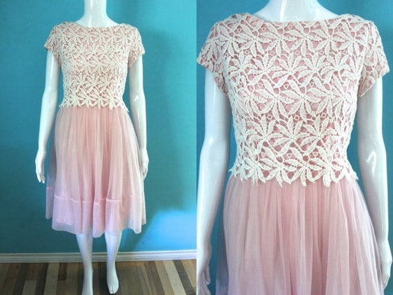 50's/60's Prom Dress   Petal Pink Late 50's/ Earl… - image 1
