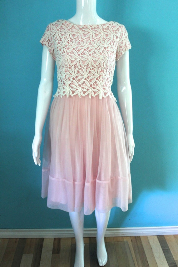 50's/60's Prom Dress   Petal Pink Late 50's/ Earl… - image 2