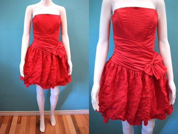 80's Prom Dress   Red 80's Crinkled Taffeta Prom D
