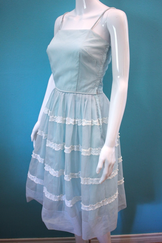 50's Prom Dress Late 50's/Early 60's Light Blue S… - image 7
