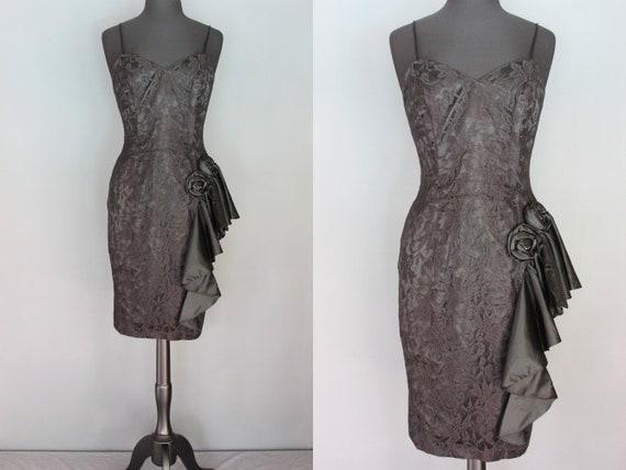 80's Prom Dress    Black Lace 80's Wiggle Prom Dre