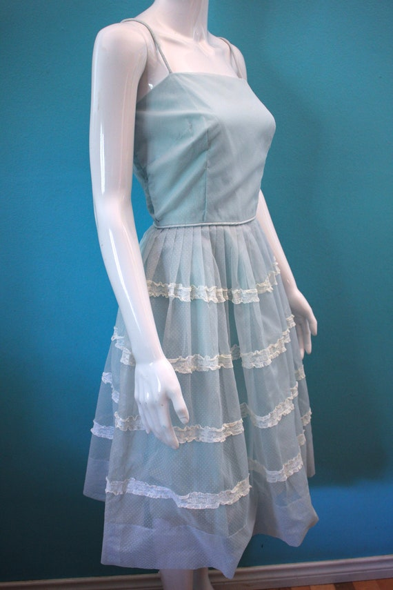 50's Prom Dress Late 50's/Early 60's Light Blue S… - image 6