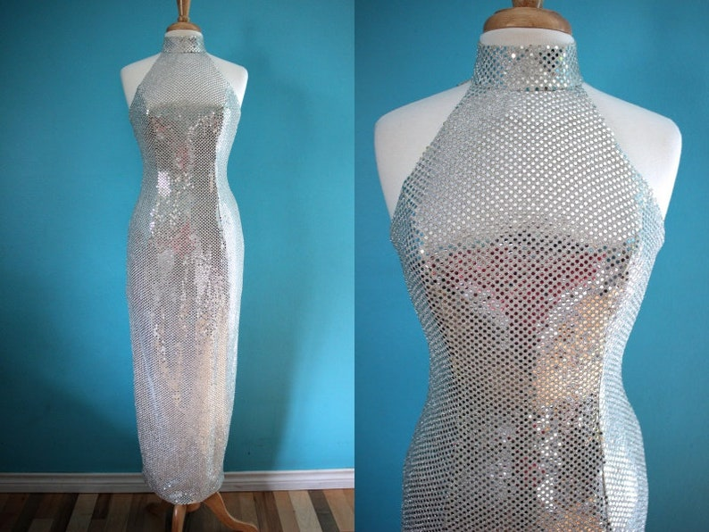 90's Prom Dress 90's Silver Sequined Diva