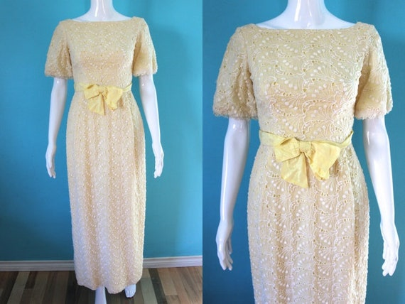 60's Prom Dress   60's Yellow Embroidered Eyelet P
