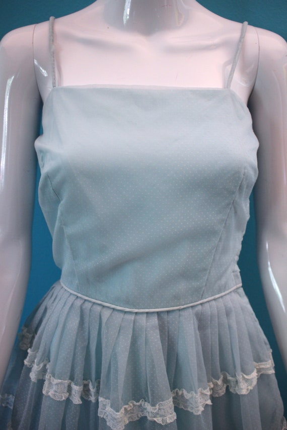 50's Prom Dress Late 50's/Early 60's Light Blue S… - image 4