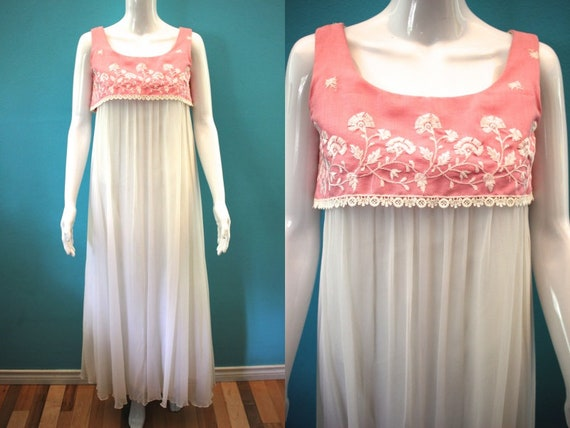 60's Prom Dress Mid-60's Pink And White Embroidere