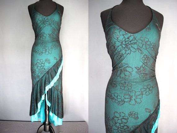 90s Prom Dress 90s Teal And Black Bias Cut Prom Etsy