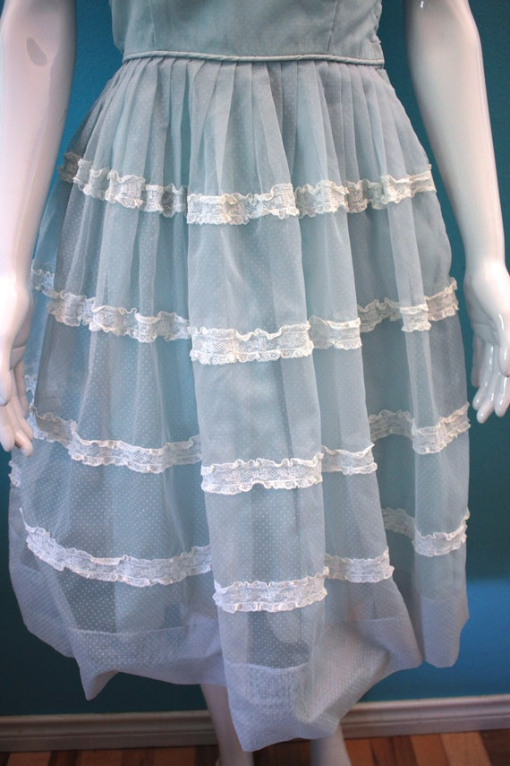 50's Prom Dress Late 50's/Early 60's Light Blue S… - image 5