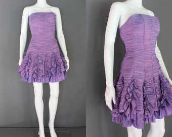 90's Prom Dress  Lavender Ruched And Ruffled Strapless Mini 90's Prom Dress 90's Party Dress