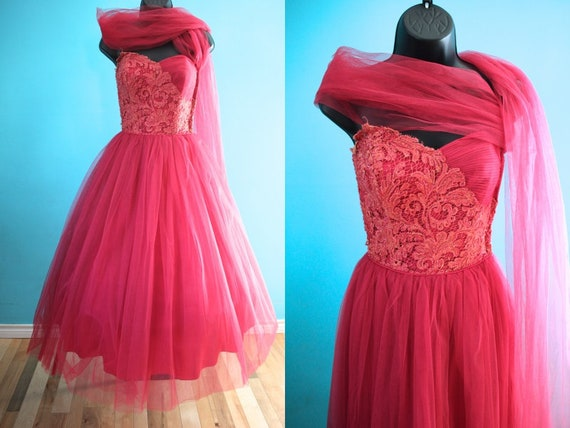 50's Prom Dress   50's Raspberry Tulle And Lace Pr