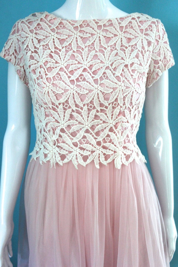 50's/60's Prom Dress   Petal Pink Late 50's/ Earl… - image 3