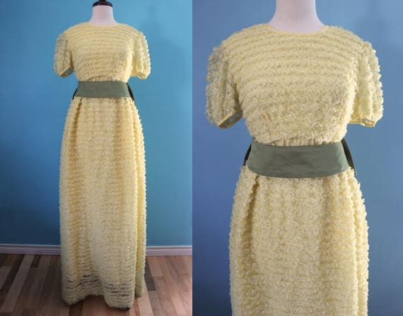 60's Prom Dress      Yellow Ruffled Lace Formal Go