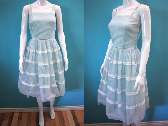 50's Prom Dress Late 50's/Early 60's Light Blue Sw