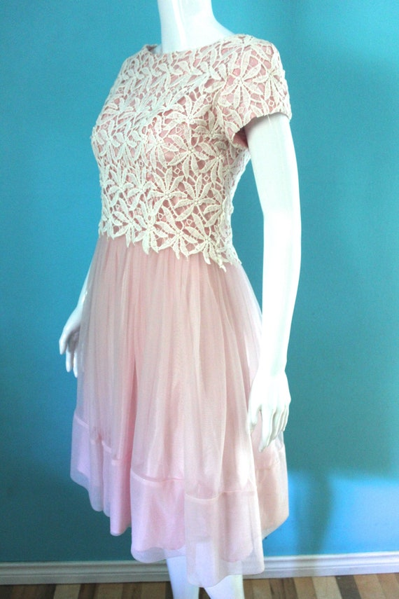 50's/60's Prom Dress   Petal Pink Late 50's/ Earl… - image 5