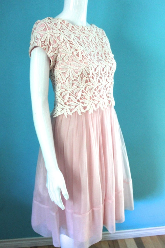 50's/60's Prom Dress   Petal Pink Late 50's/ Earl… - image 4