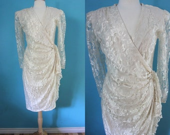 80's Cocktail Dress   80's Cream Lace Cocktail Dress 80's Prom Dress 80's Evening Dress 80's Wedding Dress