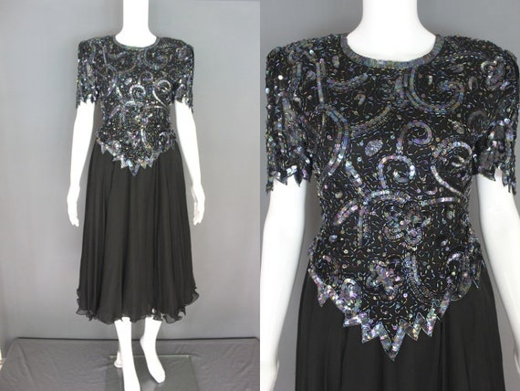80's Party Dress   80's Black Beaded And Sequined