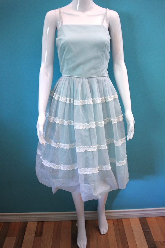 50's Prom Dress Late 50's/Early 60's Light Blue S… - image 2