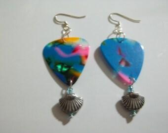SALE!! Guitar Pick Dangle Beach Bohemian Inspired Seashell Earrings