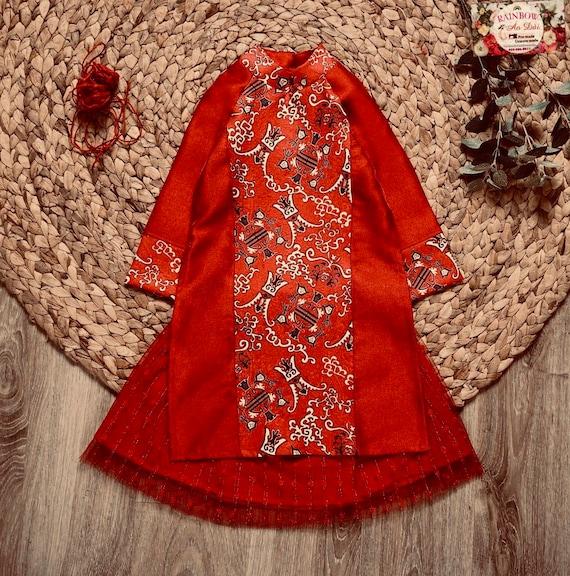 Sizes 2-14 Available Vietnamese Ao Dai Cach Tan Kids Pink Floral Ao Dai Set