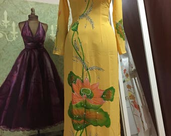 Beautiful Vietnamese Rainbow Ao Dai - 2 layers chiffon yellow Lotus