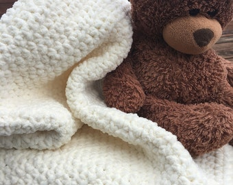 Baby boy girl cream neutral handmade crochet blanket, soft cuddly crocheted chunky baby blanket, gender neutral baby shower gift blanket